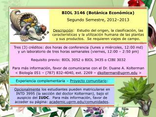 BIOL 3146 (Botánica Económica) Segundo Semestre, 2012–2013