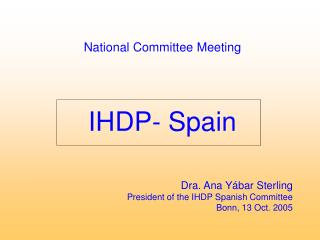 National Committee Meeting IHDP- Spain