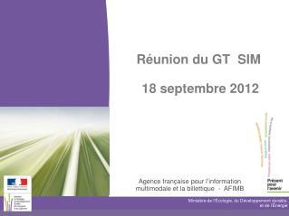Réunion du GT  SIM   18 septembre 2012