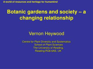Botanic gardens and society – a changing relationship