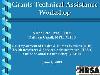 Grants Technical Assistance Workshop