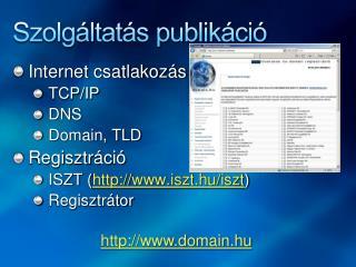 Szolgáltatás publikáció