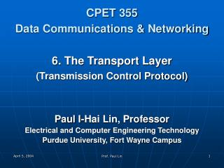 CPET 355 Data Communications & Networking