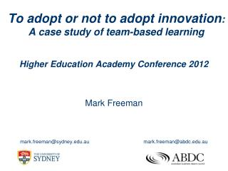 To adopt or not to adopt innovation :  A case study of team-based learning