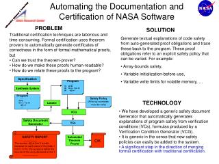 Automating the Documentation and Certification of NASA Software