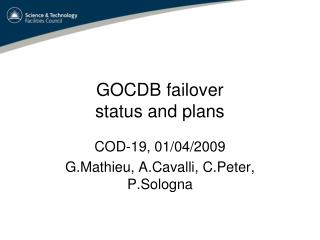 GOCDB failover status and plans