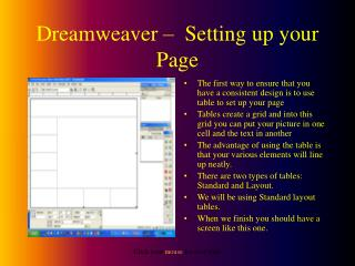 Dreamweaver –  Setting up your Page