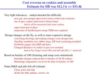 Cost overrun on cookies and assembly  Estimate for HB was $12.3 k => $33.4k
