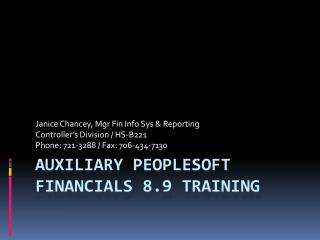 Auxiliary PeopleSoft Financials 8.9 Training