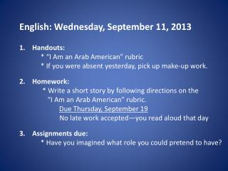 English: Wednesday, September 11, 2013