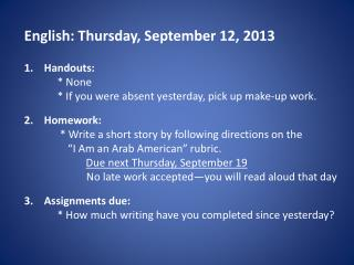 English: Thursday, September 12, 2013