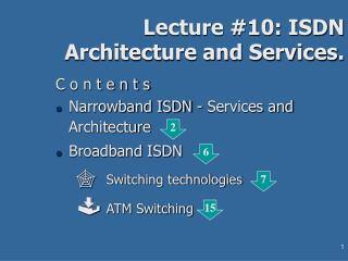 Lecture #10: ISDN Architecture and Services.