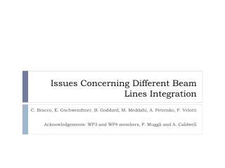 Issues Concerning Different Beam Lines Integration