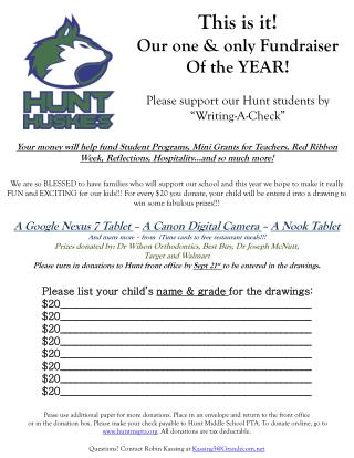 This is it! Our one & only Fundraiser Of the YEAR! Please support our Hunt students by
