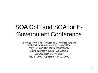 SOA CoP and SOA for E-Government Conference