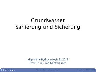 Grundwasser Sanierung und Sicherung