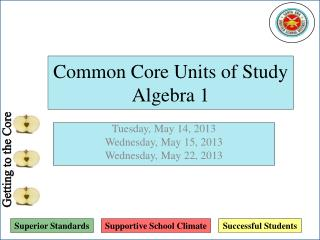 Common Core Units of Study Algebra 1