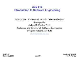 CSE 516 Introduction to Software Engineering