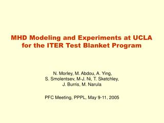MHD Modeling and Experiments at UCLA for the ITER Test Blanket Program