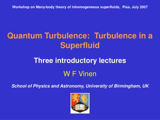Workshop on Many-body theory of inhomogeneous superfluids,  Pisa, July 2007
