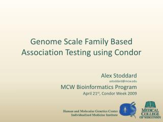 Genome Scale Family Based Association Testing using Condor