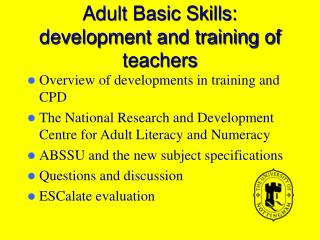 Adult Basic Skills: development and training of teachers