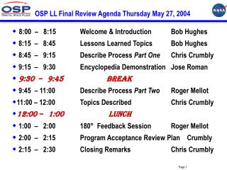 OSP LL Final Review Agenda Thursday May 27, 2004