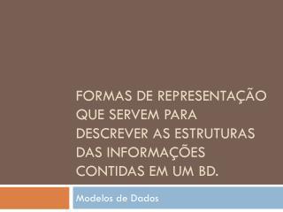 Formas de Representação que servem para descrever as estruturas das informações contidas em um BD.