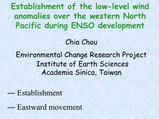 Chia Chou Environmental Change Research Project  Institute of Earth Sciences