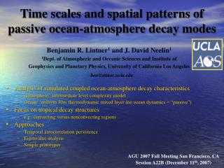 Time scales and spatial patterns of passive ocean-atmosphere decay modes