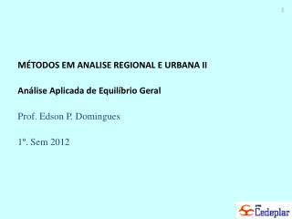 M�TODOS EM ANALISE REGIONAL E URBANA II