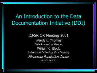 An Introduction to the Data Documentation Initiative (DDI)