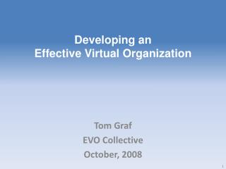 Developing an Effective Virtual Organization