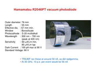 Hamamatsu R2046PT vacuum photodiode
