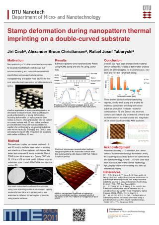 Stamp deformation during nanopattern thermal imprinting on a double-curved substrate
