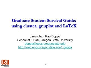 Graduate Student Survival Guide: using cluster, gnuplot and LaTeX