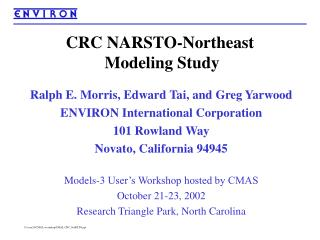 CRC NARSTO-Northeast  Modeling Study