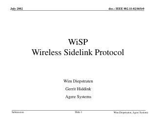 WiSP Wireless Sidelink Protocol