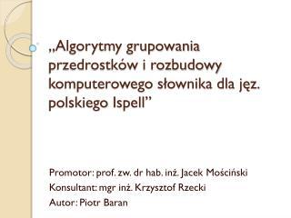 """""""Algorytmy grupowania przedrostków i rozbudowy komputerowego słownika dla jęz. polskiego  Ispell """""""