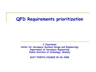 QFD Requirements prioritization