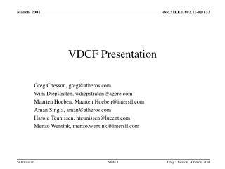 VDCF Presentation