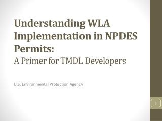 Understanding WLA Implementation in NPDES Permits:  A Primer for TMDL Developers