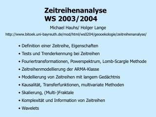 Zeitreihenanalyse WS 2003/2004