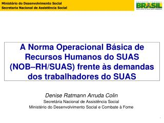 Denise Ratmann Arruda Colin Secretária Nacional de Assistência Social