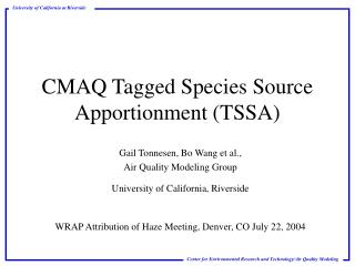 CMAQ Tagged Species Source Apportionment (TSSA)