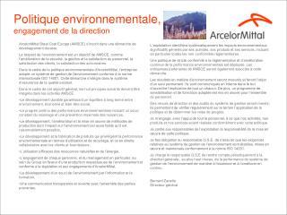Politique environnementale, engagement de la direction