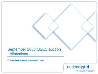 September 2008 QSEC auction - Allocations