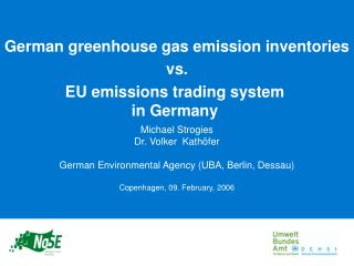 German greenhouse gas emission inventories vs. EU emissions trading system  in Germany