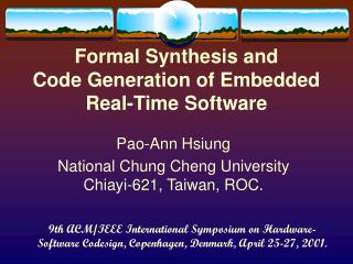 Formal Synthesis and  Code Generation of Embedded  Real-Time Software