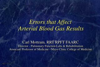 Errors that Affect  Arterial Blood Gas Results